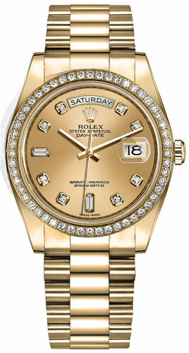 Day-Date 36 Champagne Diamond Dial Women's Watch 128348RBR