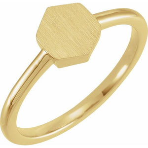14K Gold 9.5x8 mm Geometric Signet Ring