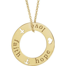 "Load image into Gallery viewer, 14K Gold Faith, Hope, Love Pierced Loop 16-18"" Necklace"