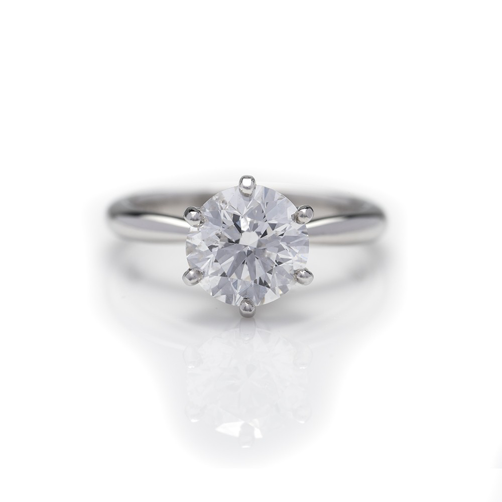 Six Prong Solitaire Round Brilliant Cut Ring, Engagement Ring,  - [Wachler]