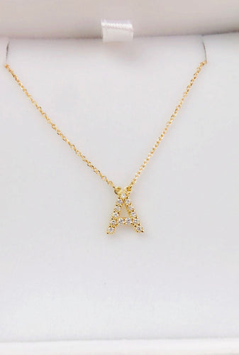 14K Gold 1/8ct Diamond Initial Pendant