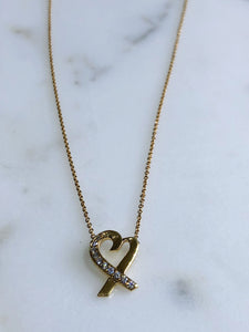 Tiffany & Co. 18K Yellow Gold Paloma Picasso Diamond Heart Pendant Necklace