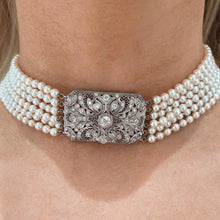Load image into Gallery viewer, Vintage Platinum Pearl & Diamond Choker