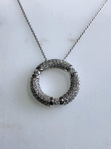 Movado 18K White Gold Diamond Circle Pave Pendant