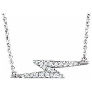 "14K 1/8 CTW Diamond Lightning Bolt 16-18"" Necklace"