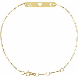 "14K Gold Faith, Love, Hope Bar 6 1/2-7 1/2"" Bracelet"
