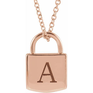 "14K Gold Engraveable Lock 16-18"" Necklace"