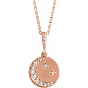 "1/10 CTW Diamond Crescent Moon Disc 16-18"" Necklace"
