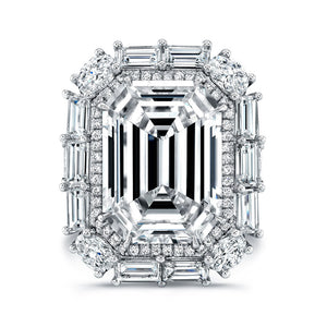 Emerald Cut Diamond Engagement Ring with Baguette Halo, Engagement Ring,  - [Wachler]