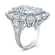 Load image into Gallery viewer, Emerald Cut Diamond Engagement Ring with Baguette Halo, Engagement Ring,  - [Wachler]