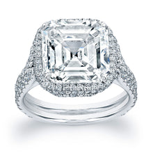 Load image into Gallery viewer, Asscher Cut Diamond Engagement Ring with Pave Halo, Engagement Ring,  - [Wachler]