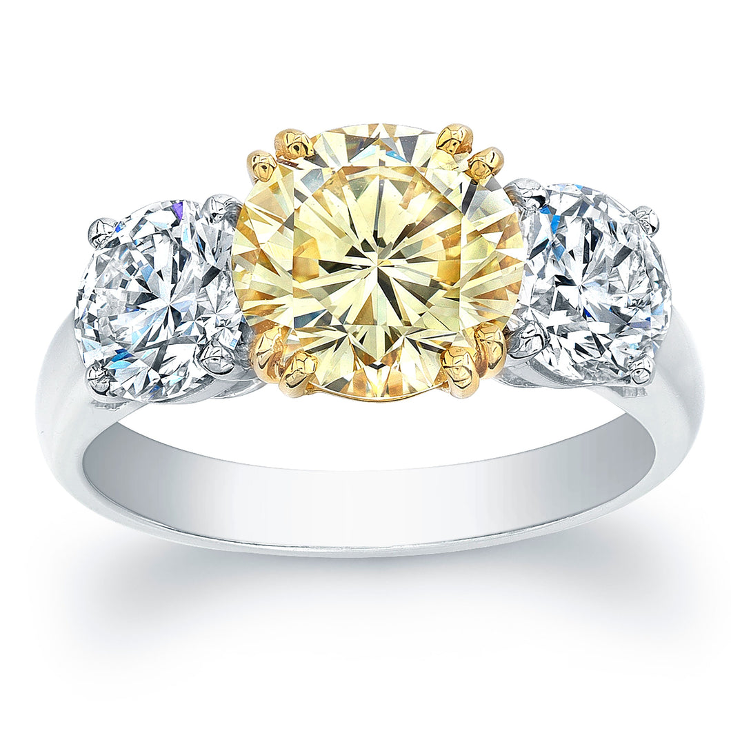 Round Fancy Yellow Diamond Engagement Ring, Engagement Ring,  - [Wachler]