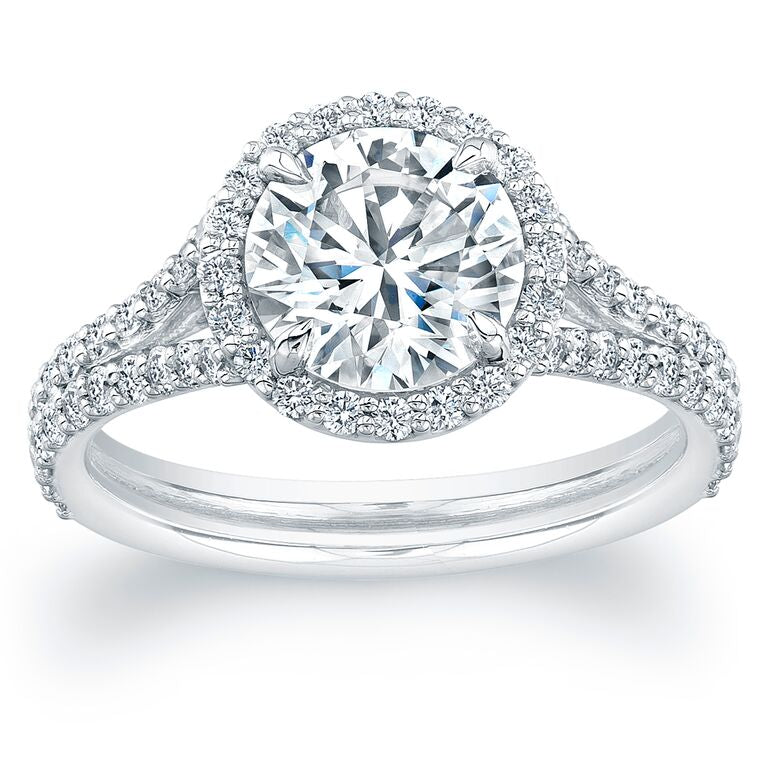 Round Diamond with Pave Halo Engagement Ring, Engagement Ring,  - [Wachler]
