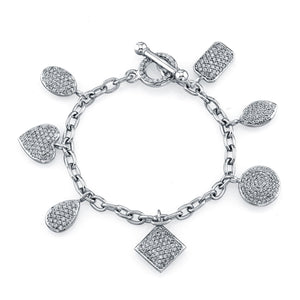 Mixed Shapes Pave Diamond Charm Bracelet, Bracelet,  - [Wachler]