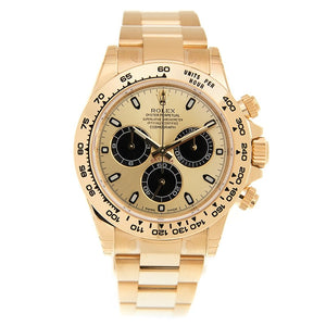 Cosmograph Daytona Black and Champagne Dial Men's 18kt Yellow Gold Oyster Watch