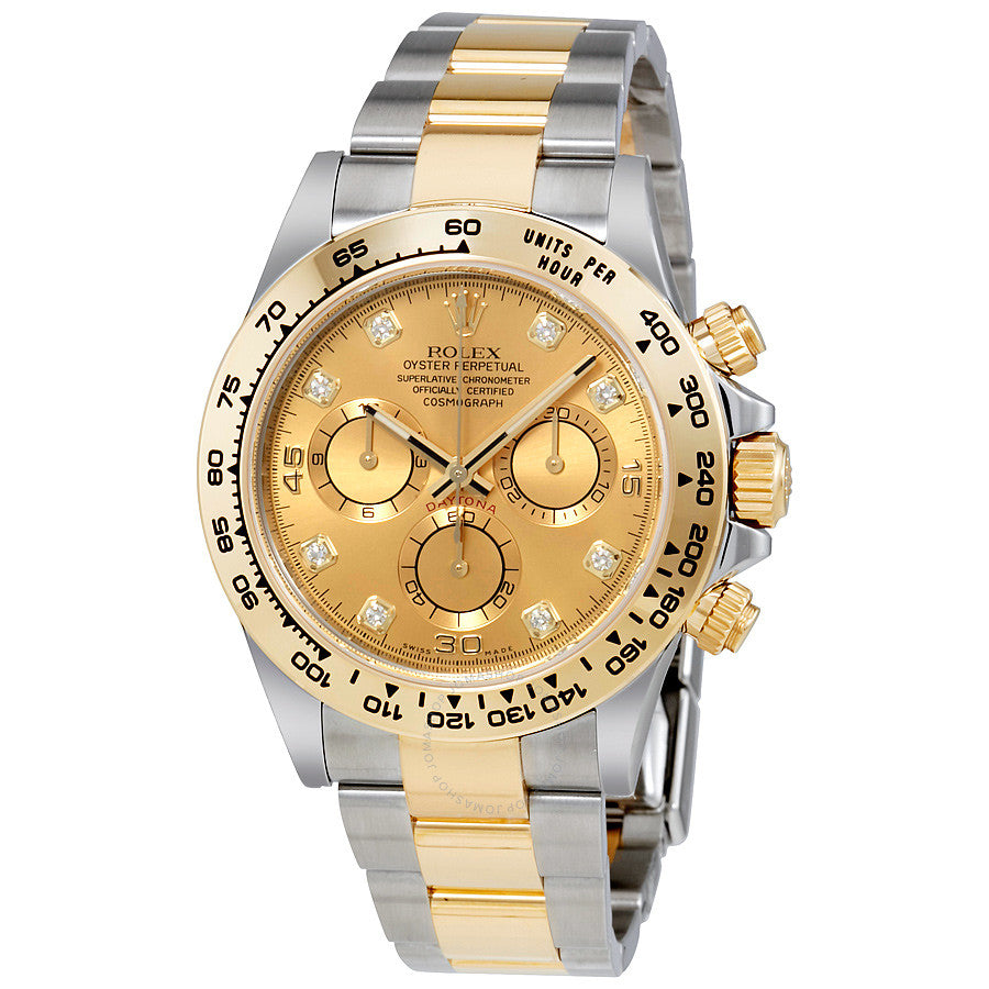 Rolex Cosmograph Daytona Champagne Diamond Dial Steel and 18K Yellow Gold Men's Watch