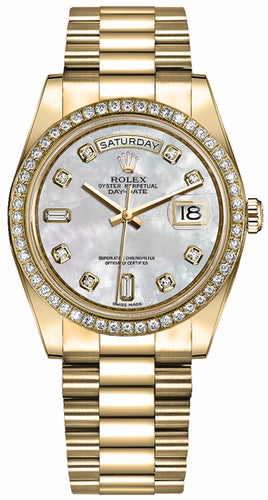 Day-Date 36 18k Yellow Gold Diamonds Women's Watch 128348RBR