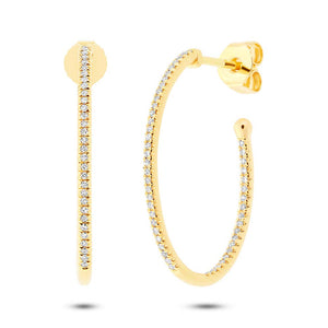 0.26 Ct 14k Gold Diamond Oval Hoop Earrings, Earrings,  - [Wachler]