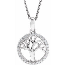 "Load image into Gallery viewer, 14K Gold 1/5 CTW Diamond Tree of Life 16-18"" Necklace"