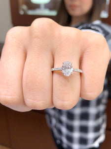 1.30 Carat Oval Diamond Engagement Ring in 18k White Gold