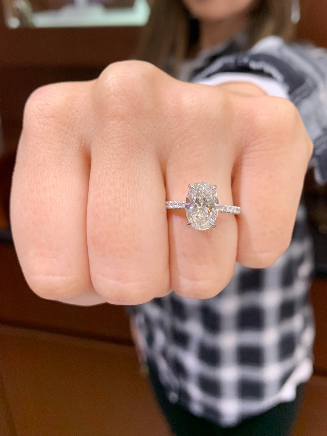 2.01 Carat Oval Diamond Platinum Engagement Ring