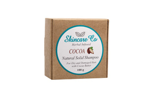 Cocoa Natural Solid Shampoo for Dry and Damaged Hair with Cocoa Butter