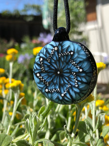 MZ Glass - Ice Blue Pinwheel Butterfly Pendant