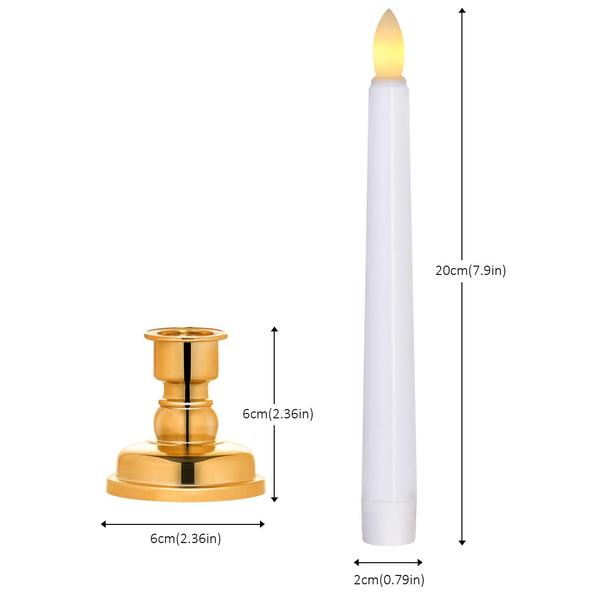 6 Wax Battery LED Taper Candles