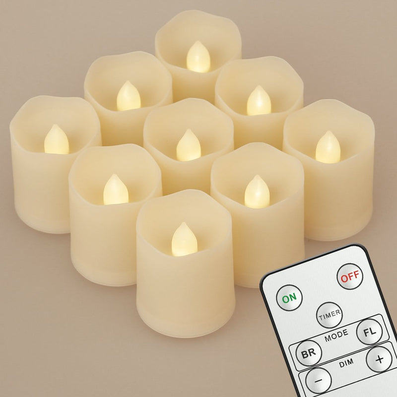 Set of 9 Flickering LED Tealight Candles [Timer, Remote & Batteries]