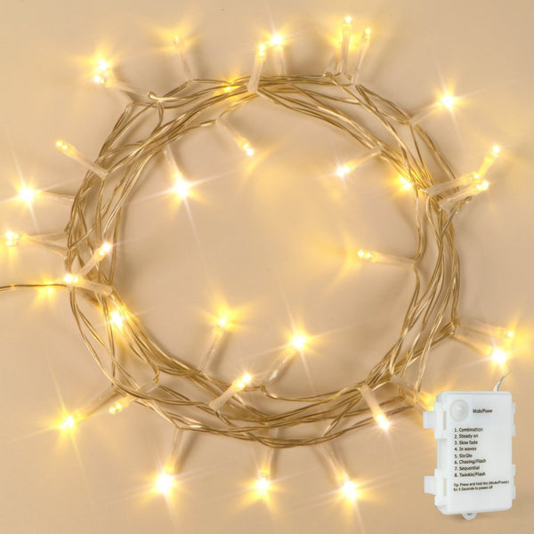 KooPower Battery-powered 5m/16.5ft 40-LED Outdoor Fairy Lights with Timer ( 2 Pack )