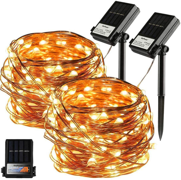 KooPower Solar 10m/33ft 100-LED Micro Fairy Lights  (Copper Wire)
