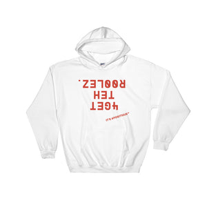 """FORGET THE RULES IT'S POSITIVUS"" Red Logo Hooded Sweatshirt"