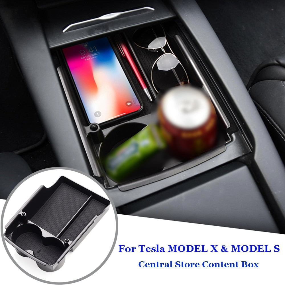 Storage Box On Center Console For Model X/S