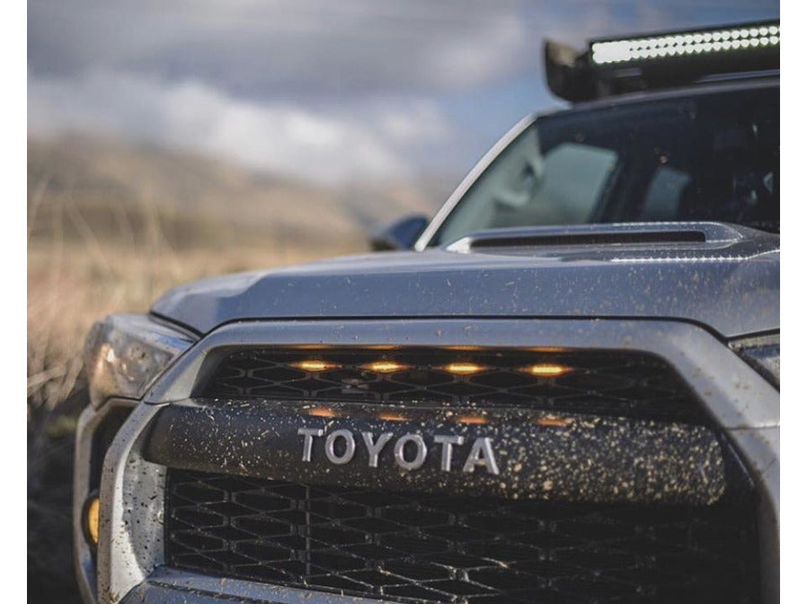 Matte Black Replacement 2 Piece Set Front Grill Compatible with 2014-2019 4Runner TRD PRO Style Grille W//Silver Letters