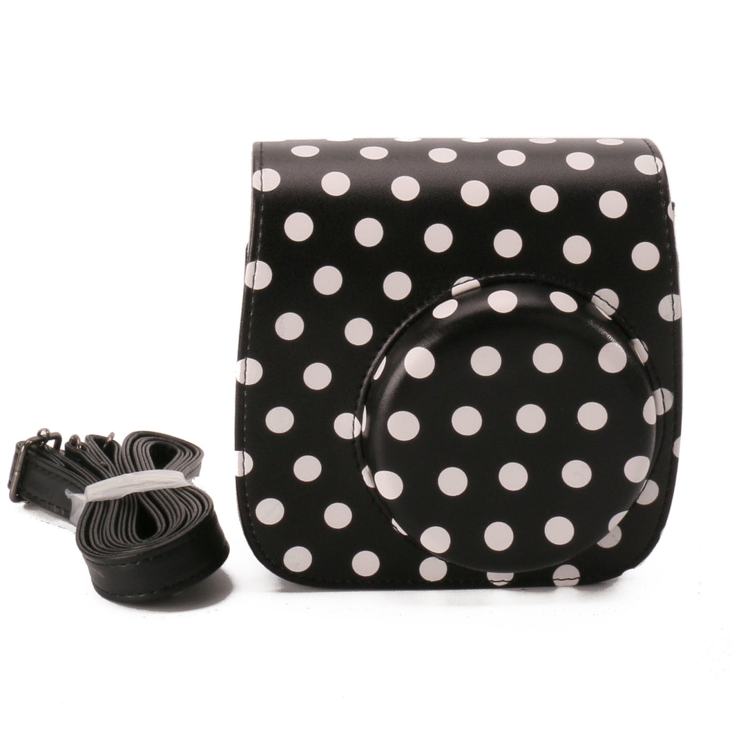 CAIUL Compatible Mini 8 Case Bag With Soft PU Leather Material for Fujifilm Instax Mini 8 Camera (Black Dots)