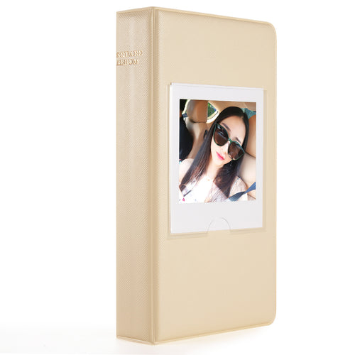 CAIUL Compatible 64 Pockets Square Book Album for Fujifilm Square SQ10 SQ6 Instant Film (Beige)