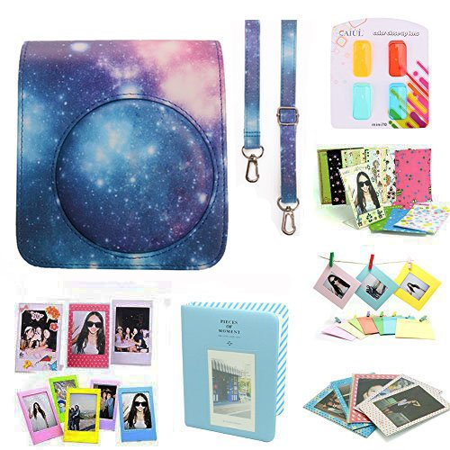 CAIUL Compatible Mini 70 Camera Case Bundle with Album, Filters & Other Accessories for Fujifilm Mini 70 (Galaxy, 8 Items)