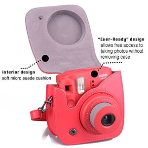 CAIUL Compatible Mini 9 Groovy Camera Case Bag for Fujifilm Mini 8 8+ 9 Camera (Red)
