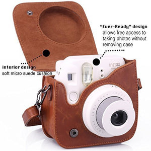 CAIUL Compatible Mini 8 8+ 9 Camera Case Accessories Bundle Kit for Fujifilm Mini 8 8+ 9, Brown (7 Items)
