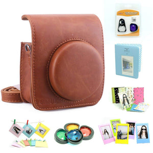 CAIUL Compatible Mini 90 Camera Case Accessories Bundle Kit for Fujifilm Mini 90, Brown (7 Items)