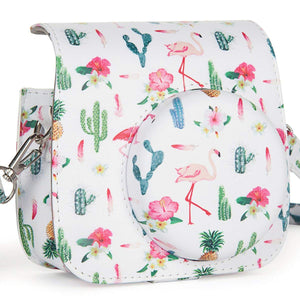 CAIUL Compatible Mini 9 Groovy Camera Case Bag for Fujifilm Mini 8 8+ 9 Camera - Flamingo & Cactus