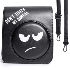CAIUL Compatible Groovy Emoji Mini 70 Case Bag With Soft PU Leather Material for Fujifilm Mini 70 Camera - Black, DON'T TOUCH MY CAMERA