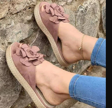 2020 New Women's Fashion Wedges Flowers Deco Summer Slippers Sandals