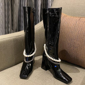 Women Black Block High Heels Long Boots