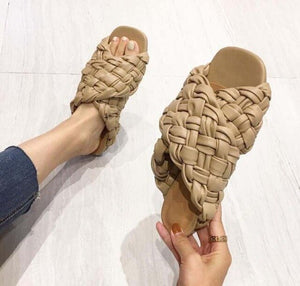 2021 Summer Slides High Quality Weave Open Toe Flat