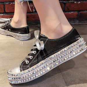 Shoes - Fashion Women's Vintage Rivet Canvas Flats Platform Shoes
