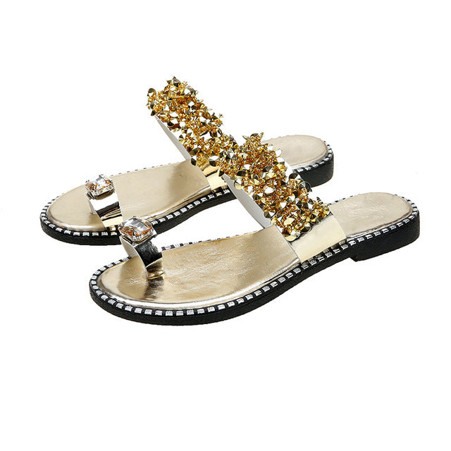 2020 New Women's Fashion Shiny Bling Crystal Flat Slippers Flip Thong Sandals