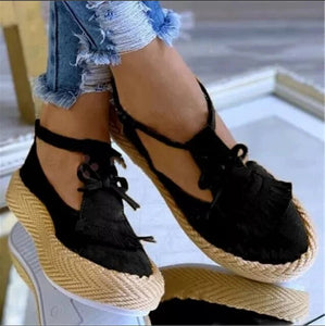 2020 New Women's Fashion Bow Tassel Platform Shoes
