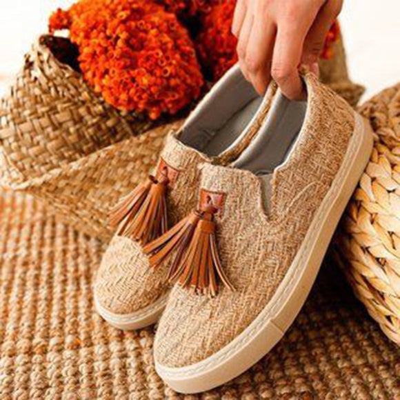 New Women's Tassels Slip On Casual Flats Loafers