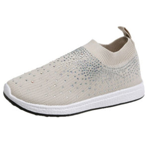 Lazajoy Women's Bling Breathable Mesh Soft Slip On Sneakers